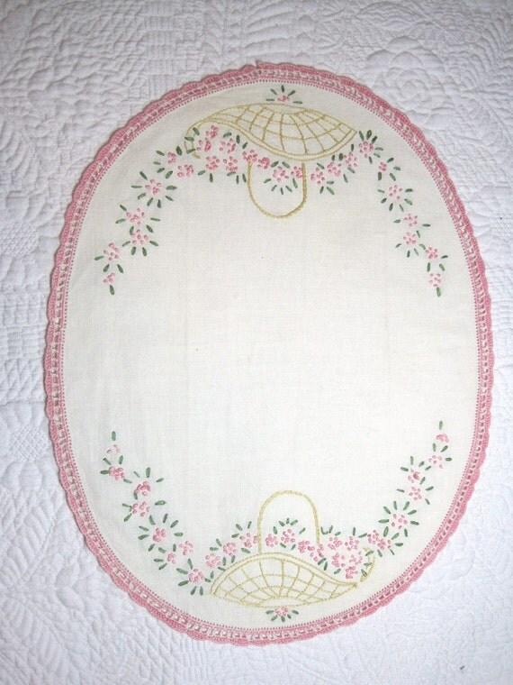 Vintage Dresser Runner Hand Embroidered Baskets and Flowers