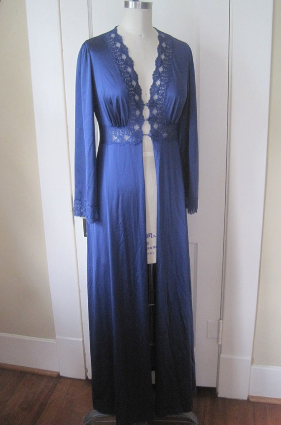 Vintage Robe Midnight Blue Long and Sexy Size Small