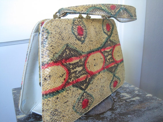 Vintage Handbag 1960s Purse Painted Snake Handbag with Top Handle Purse by Nicholas Reich Beautiful and Fabulous