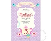 Birthday Tea party with Alice / Birthday Invitation - Printable DIY Birthday party