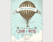 Reserved listing for Marie - UP UP and Away - Hot Air Balloon Vintage Style Invitation - DIY printable file