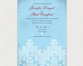 Winter Lace wedding invitation -  DIY printable file