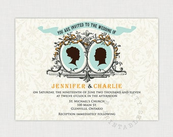Cameo Couple Wedding invitation - Vintage Style Wedding - DIY printable file