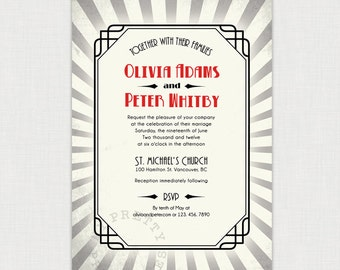Art Deco Wedding - Vintage Style Invitation - DIY printable file