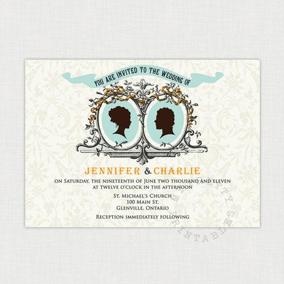 Cameo Couple Wedding invitation - Vintage Style Wedding - DIY printable file