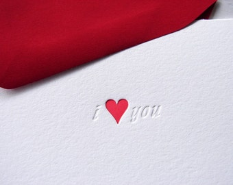 Letterpress Cards i love you with red heart (Folded A1 Set)