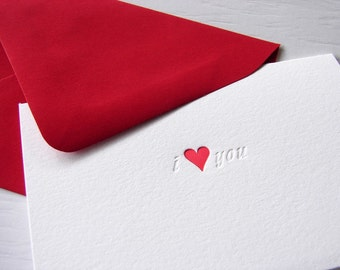 Letterpress Cards i love you with red heart folded cards
