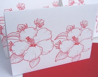 Hibiscus Letterpress Cards Ruby Red