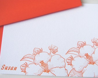 Personalized Hibiscus Letterpress Stationery Set Tangerine Orange