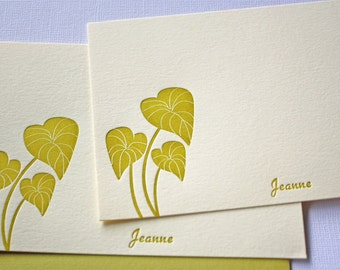 Personalized Letterpress Stationery Hawaii Kalo Leaves Golden Green