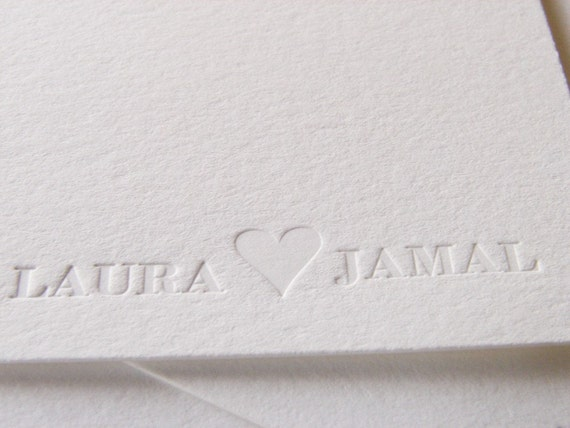 Personalized Wedding Thank You Letterpress Cards Names with Heart  Set 100