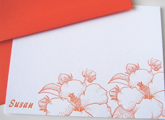 Personalized Hibiscus Letterpress Stationery Set Tangerine Orange