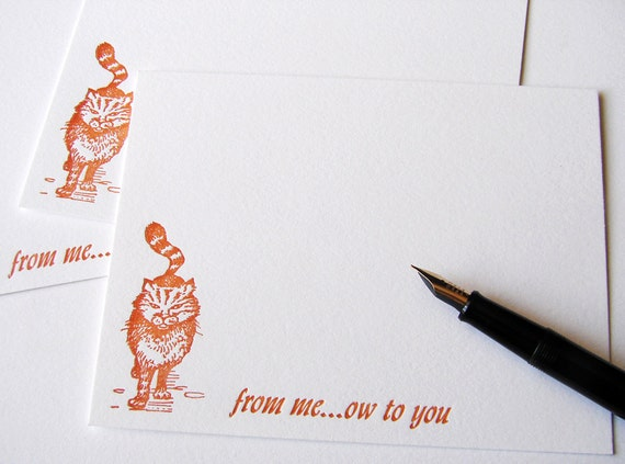 Letterpress Cards Sassy Cat From Meow to You Set