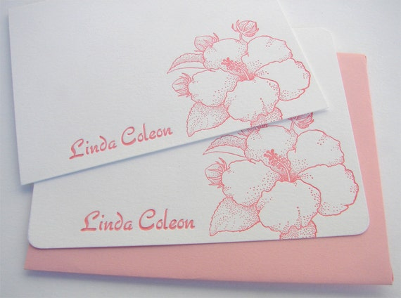 Personalized Hibiscus Letterpress Stationery Pink