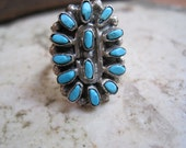 Zuni Petit Point Sterling and Turquoise Ring  Size 5 3/4