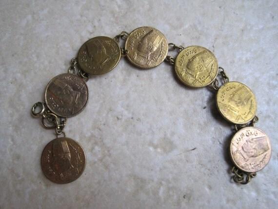 Vintage Coin Bracelet - 1930's - Egyptian - Gold Plated Coins - Link Bracelet