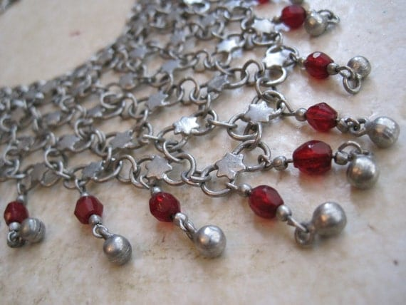 Vintage Bib Necklace - Middle Eastern Necklace - Star of David Motif - Chain Mail Links - Silver Tone Metal and Red Glass Beads