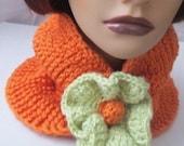 Neckwarmer Cowl Scarf ORANGE /Sage Flower -OR  Choose Your Own Colors
