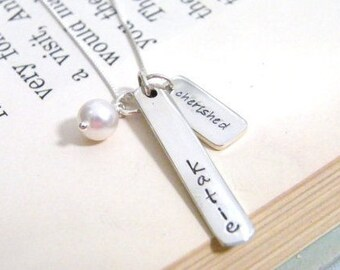 personalized bridesmaid  sterling silver handstamped heirloom keepsake necklace name & color with cherished tag