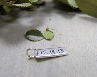 wedding, anniversary, relationship date sterling silver handstamped charm tag small initials on back side