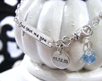 beach honeymoon anklet or bracelet  adjustable length wedding date sterling silver handstamped god gave me you