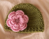 CLEARANCE - Baby Girl Hat, Baby Hat, Newborn Hat, Crochet Hat, Photo Prop, Hat with Flower Sale READY TO SHIPby JoJosBootique