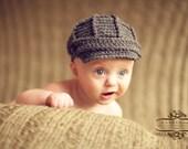Newsboy Hat - Boy Hat - Children and Toddler Newsboy Hat - Dark Grey - Baby Newsboy Hat - by JoJosBootique