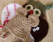 Baby Hats - Photo Prop Package - Baby Boy Hats - Owl Hat, Football Hat, Baseball Hat, and Bear Hat - by JoJosBootique