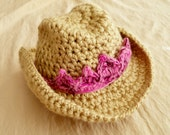 Cowboy Hat -Baby Cowgirl Hat - Baby Girl Hat -Western Hat -Versatile Baby Hat - Bowler Hat -by JoJosBootique