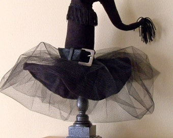 Witch Hat - Halloween Decoration -Diva Witch Hat Decor,  Black on Black - Witch Hat Decor - by JoJo's Bootique