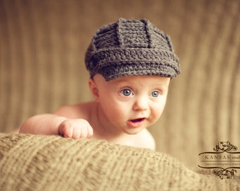 Newsboy Hat -3 - 6 Month- Toddle - Baby Boy Hat - Baby Hat - Dark Grey - Baby Newsboy Hat - by JoJosBootique