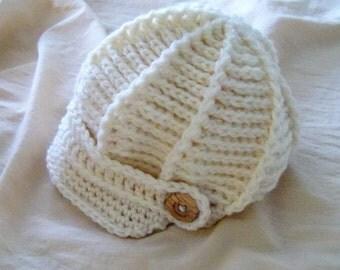 Hat - Newsboy Hat - Winter White Newsboy Hat -Baby Hat - Baby Newsboy Hat - by JoJosBootique