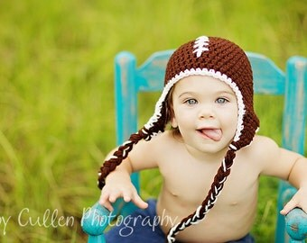 Football Hat - Baby Hat - Baby Boy Football Hat - Football Photo Prop Hat - Baby Football Hat -by JoJosBootique