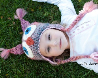 Owl Hat -  Boy's or Girl's Owl Hat - Toddler Owl Hat - Earflap Toddler Hat  -by JoJosBootique