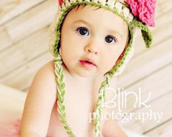 Baby Girl Hat- Rosebud Hat - Newborn Girl Hat- Baby Hat with Rose Clip -by JoJosBootique