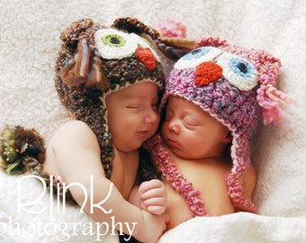 Owl Hats - Baby Hats - Twin Owl Photo Prop Hat Set - Woodland nursery baby shower - Twin Baby Shower Gift   -by JoJosBootique