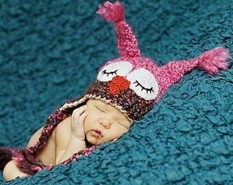 Sleepy Owl Hat -Baby Owl Hat for Baby- Two toned Cute and Soft Earflap -  Baby Girl Owl Hat -by JoJosBootique