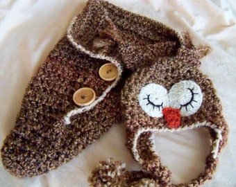 Baby Hats - Newborn - Baby Owl Hat and Cocoon Set - Baby Bunting - Owl Swaddler - Owl Photo Prop - by JoJosBootique