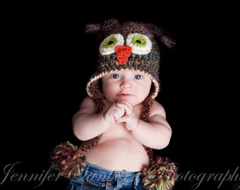 Owl Hat - Brown Owl Hat - Baby Owl Hat - Baby Boy Hat - Baby Hat -  newborn to adult sizes  -by JoJosBootique
