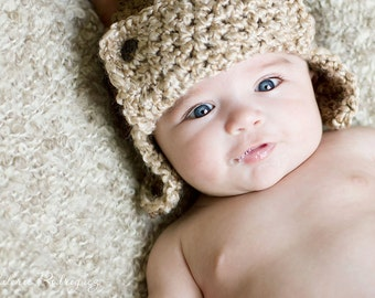 Baby Aviator Hat - Newborn Aviator Hat - Baby Hat - Photography Prop - By JoJo'sBootique