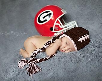 Football Hat - Baby Hat - Baby Boy Earflap Hat -0 - 3 months- Baby Football Hat - Baby Hats - by JoJosBootique