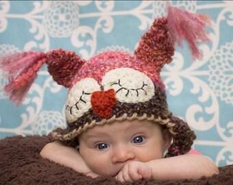 Owl Costume Hat - Baby Girl Hat - Sleepy Owl Hat - Pink Owl Photo Prop Hat - Baby Shower Gift - Girl Owl Hat -by JoJosBootique