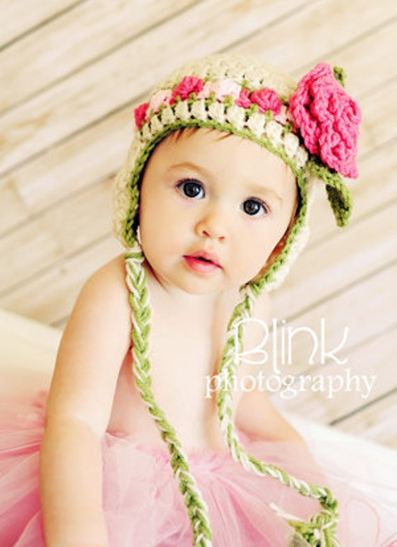 Baby Girl Hat- Rosebud Hat - Newborn Girl Hat- Baby Hat with Rose Clip -by JoJosBootique