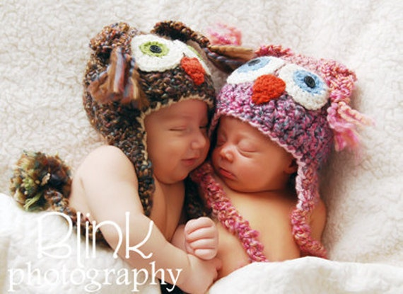 Owl Hats - Baby Hats - Twin Set -Two Toned Cute and Soft Earflap Baby Hat  -by JoJosBootique