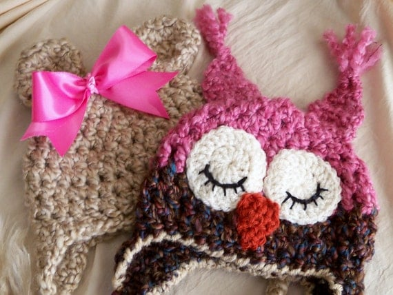 Baby Girl Hats - Baby Owl Hat and Baby Bear Hat Pair- Girls Photo Prop Hat Duo- by JoJosBootique