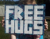 Duct Tape Free Hugs Sign (Blue Plaid and White)