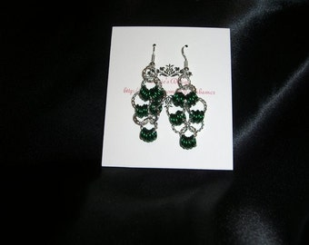 Silver and Green Jump Ring Earrings