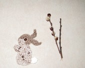 Crochet Bunny Appliques  Optional Handmade by Dimana Supplies Animal Embellishments Brown and Beige vary Colors Home decor Kids