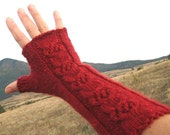 Cable Hand Knit Fingerless Gloves, Long Red Fingerless Mittens, Lace Wool Fingerless Glove, Winter Women Accessorie, Christmas gift idea