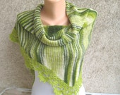 Lace Mohair Shawl Stole Green / Ivory Triangular Crochet lace trim Knitted Scarf Capelet Wrap Wearable art Women Mother's day Handmade